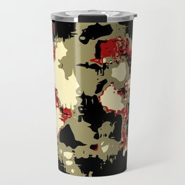 vintage psychedelic geometric painting texture abstract in red brown black Travel Mug