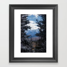 The Mountains through the Trees Framed Art Print