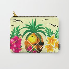 Pineapple Tropical Sunset, Palm Tree and Flowers Carry-All Pouch