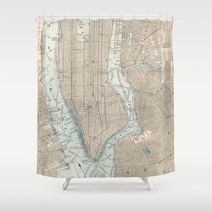 Vintage Map Of New York City 1893 Shower Curtain By Bravuramedia