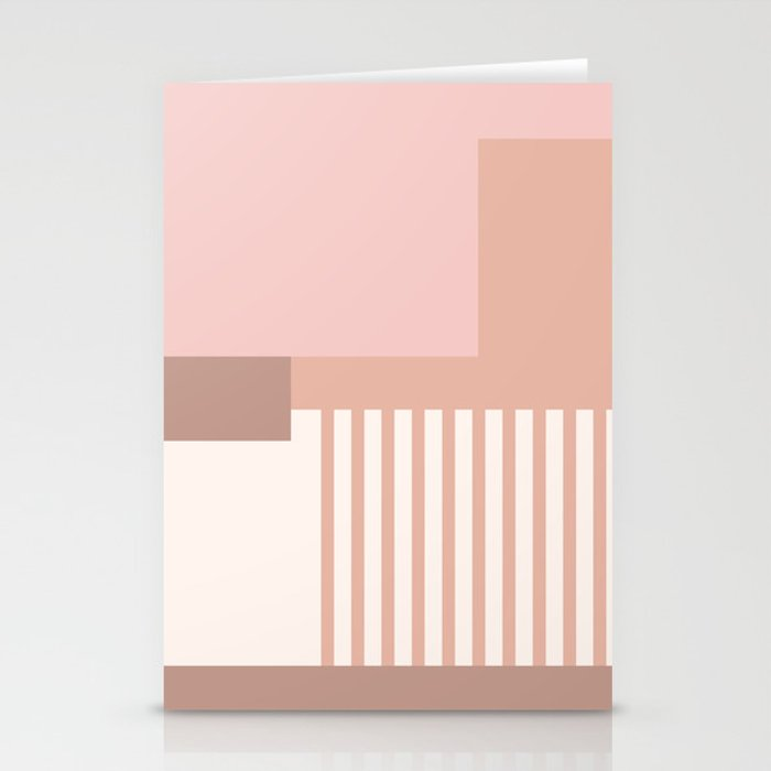 Sol Abstract Geometric Print in Pink Stationery Cards