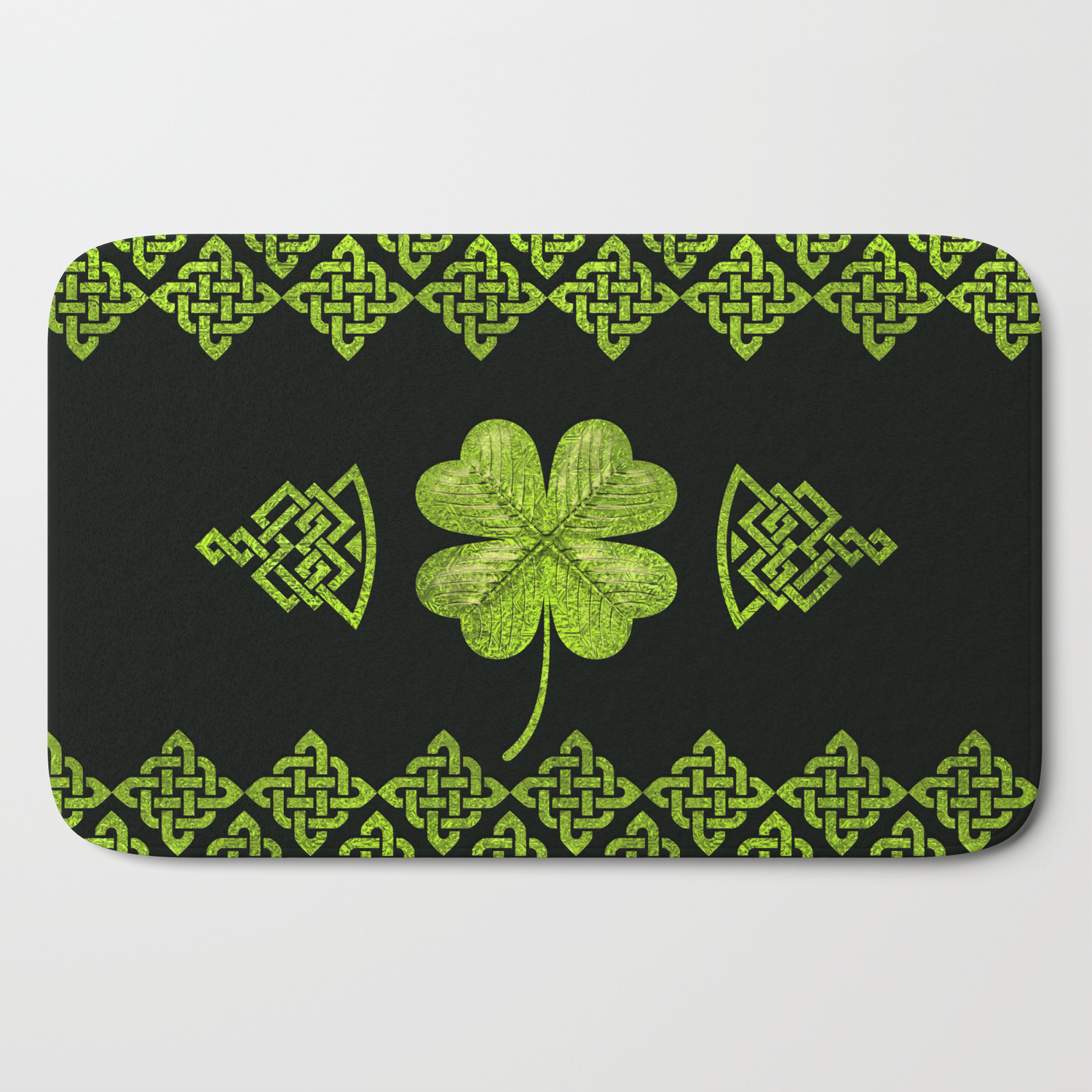 Irish Shamrock Four Leaf Clover With Celtic Decor Bath Mat By
