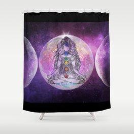 Golden Ascension Galactic Grape Zen - Mandala Shower Curtain