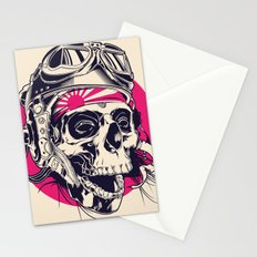 Skull with pilot helmet illustration Stationery Cards