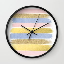Pantone gold glitter modern minimal brushstrokes abstract art trendy palette girly pastel gifts  Wall Clock