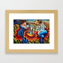 Coffee on flowers. Miguez Art. Framed Art Print
