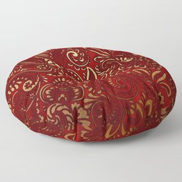 Red Burgundy Deep Gold Paisley Floral Pattern Print Floor Pillow