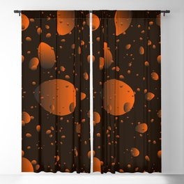 Large brown drops and petals on a dark background in nacre. Blackout Curtain