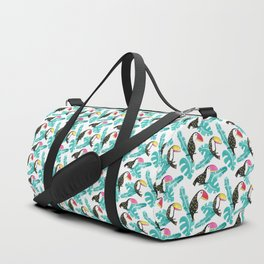 Watercolor toucan and leaves Duffle Bag