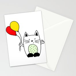 Cat with balloons Stationery Cards