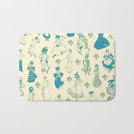Vintage Ladies BLUE BEIGE / 18th and 19th century illustrations of women Bath Mat