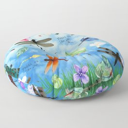 There Be Dragons - Dragonfly Fantasy Floor Pillow