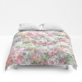 Country chic vintage green blush pink elegant floral Comforters