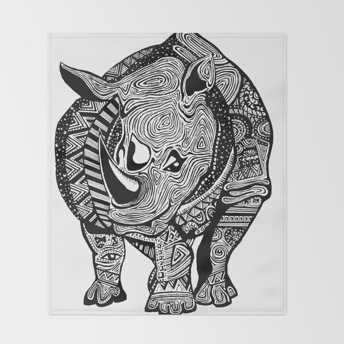 rhino Throw Blanket