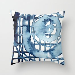 indigo shibori 08 Throw Pillow