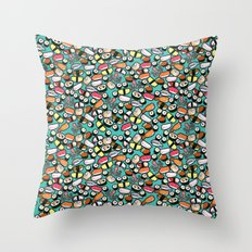 Aqua Sushi Throw Pillow