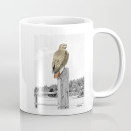 Red tailed hawk on fencepost Coffee Mug