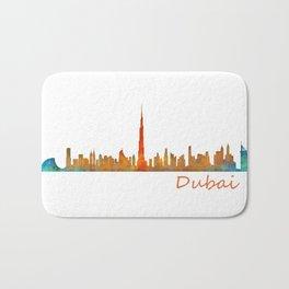 Dubai, emirates, City Cityscape Skyline watercolor art v1 Bath Mat