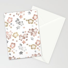 Rose Gold Copper Bronze Tropical Flowers Multi Metallic Stationery Cards