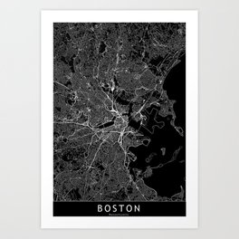 Boston Black Map Art Print