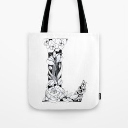 Floral Pen and Ink Letter L Tote Bag