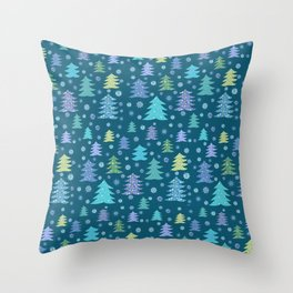 Winter Holidays Christmas Tree Green Forest Pattern Throw Pillow