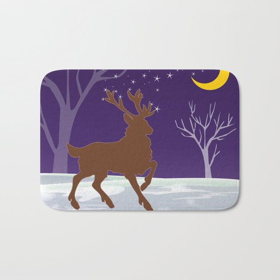 Deer on the ice Bath Mat