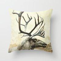reindeer Throw Pillows featuring Reindeer by ZenzPhotography