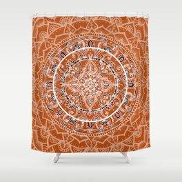 Detailed Burnt Orange Mandala Shower Curtain
