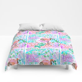 Asian Bamboo Garden in Cherry Blossom Watercolor Comforters