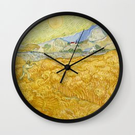 "Vincent van Gogh ""Wheat Field behind Saint Paul Hospital with a Reaper"" Wall Clock"