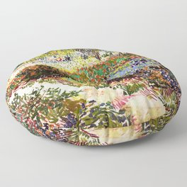 Vincent Van Gogh Flowering Garden Floor Pillow