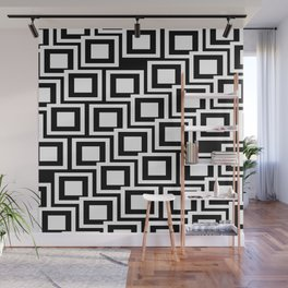 Black and White Squares Pattern 02 Wall Mural