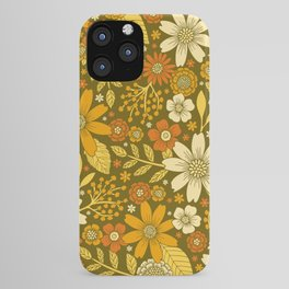 1970s Retro Flowers Pattern in Yellow, Orange & Olive Green iPhone Case