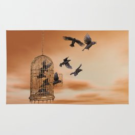 Freedom - Spread Your Wings and Fly Away - Crows and Bird Cage Artwork Rug