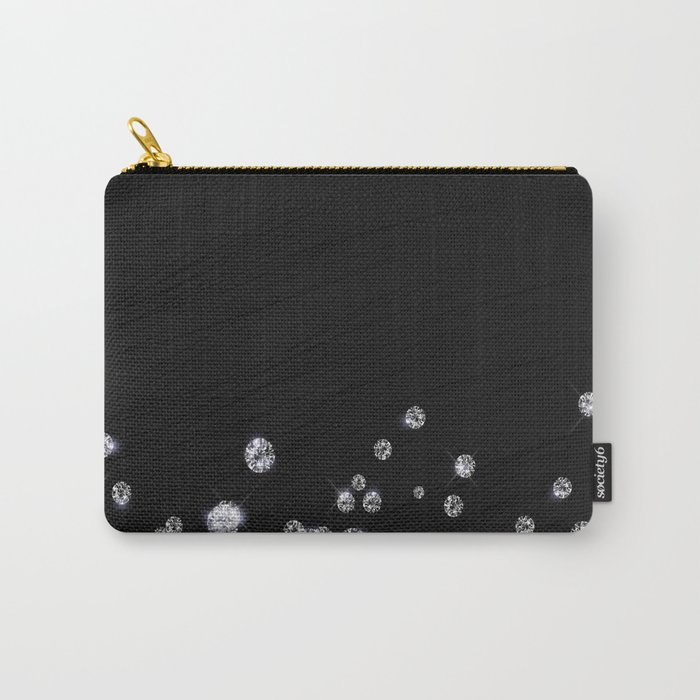 Glitter Diamonds on black silk fabric- Luxury design Carry-All Pouch