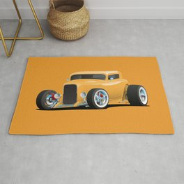 Classic American 32 Hotrod Car Illustration Rug