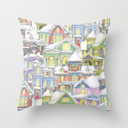 Victorian Snow Houses Throw Pillow
