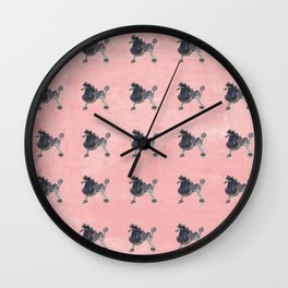 Purple and Pink Punk Poodle Wall Clock