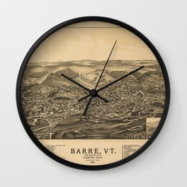 Aerial View of Barre, Vermont (The Granite City) 1891 Wall Clock