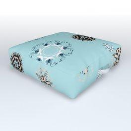 Blue Mandala, Pattern, Digital Design, Shapes Outdoor Floor Cushion