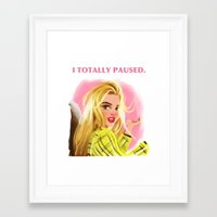 clueless Framed Art Prints featuring I Totally Paused - CLUELESS by Dylan Bonner
