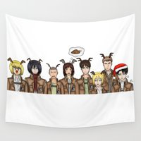 shingeki no kyojin Wall Tapestries featuring Christmas with Squad Levi 2.0 by PaigeAWArt