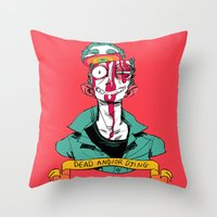 musa Throw Pillows featuring dead and/or dying by musa