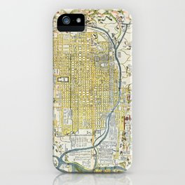 Japanese woodblock map of Kyoto, Japan, 1696 iPhone Case