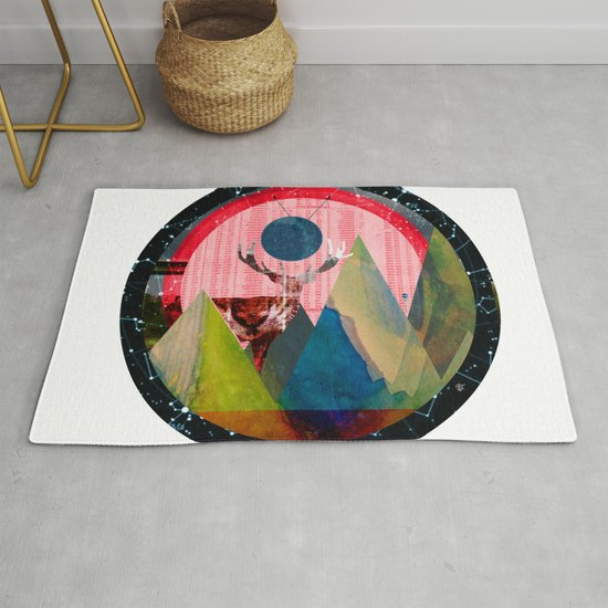 Wonder Wood Dream Mountains   Red Deer Dream Illusion · Crop Circle Rug By  Markokoeppe | Society6