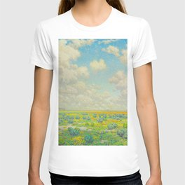 Granville Redmond Spring Antelope Valley Beautiful Landscape Painting Blue Sky Green Flower Filled F T-shirt