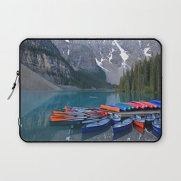 Colorful Canoes at Moraine Lake Laptop Sleeve