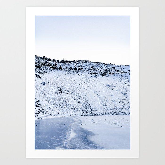 Kerid Crater In Winter, Iceland Art Print