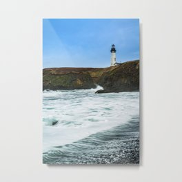 Receding waves at Yaquina Head Lighthouse in Newport, Oregon Metal Print